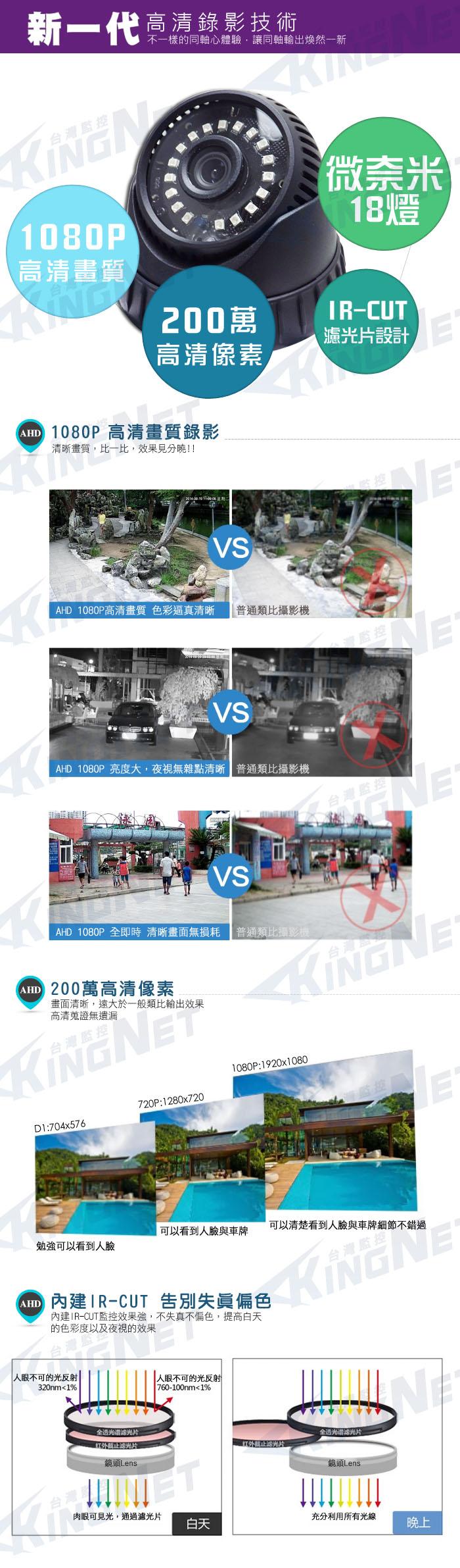 監視器攝影機 KINGNET 最新 高解析 AHD HD 1080P 微奈米陣列 室內吸頂半球 紅外線 300萬鏡頭