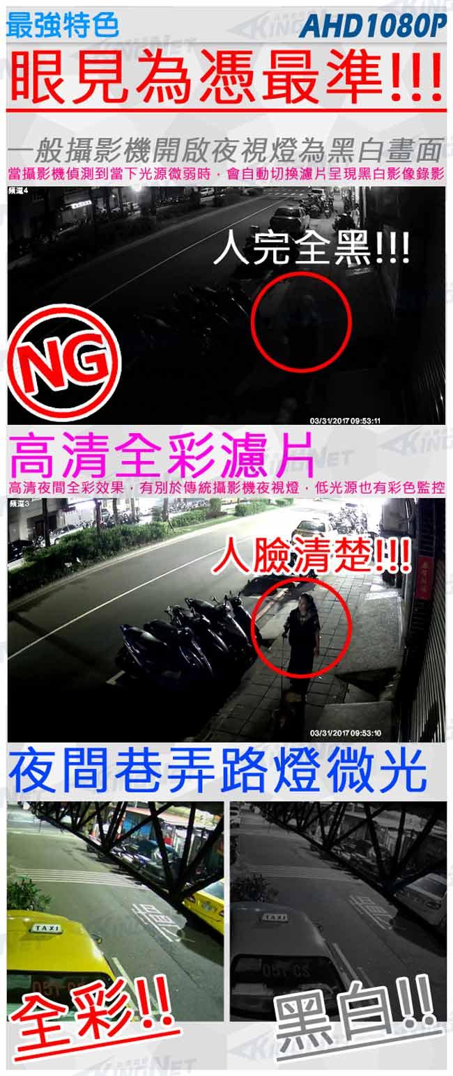 監視器攝影機 KINGNET 星光級 海螺型半球 AHD 1080P 日本 SONY Exomr晶片 日夜全彩 高清監控