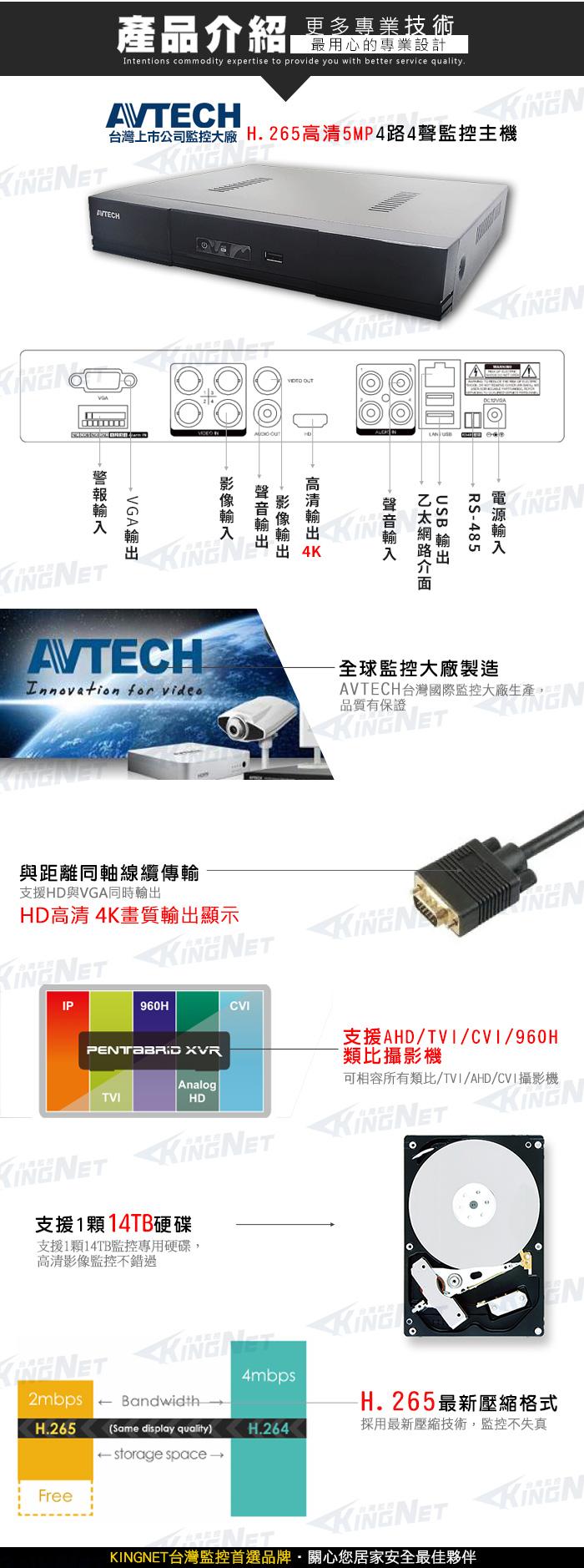 監視器攝影機 KINGNET AVTECH 4路4聲數位監控主機 H.265 500萬 5MP 手機遠端監看 1080P 類比 位移偵測