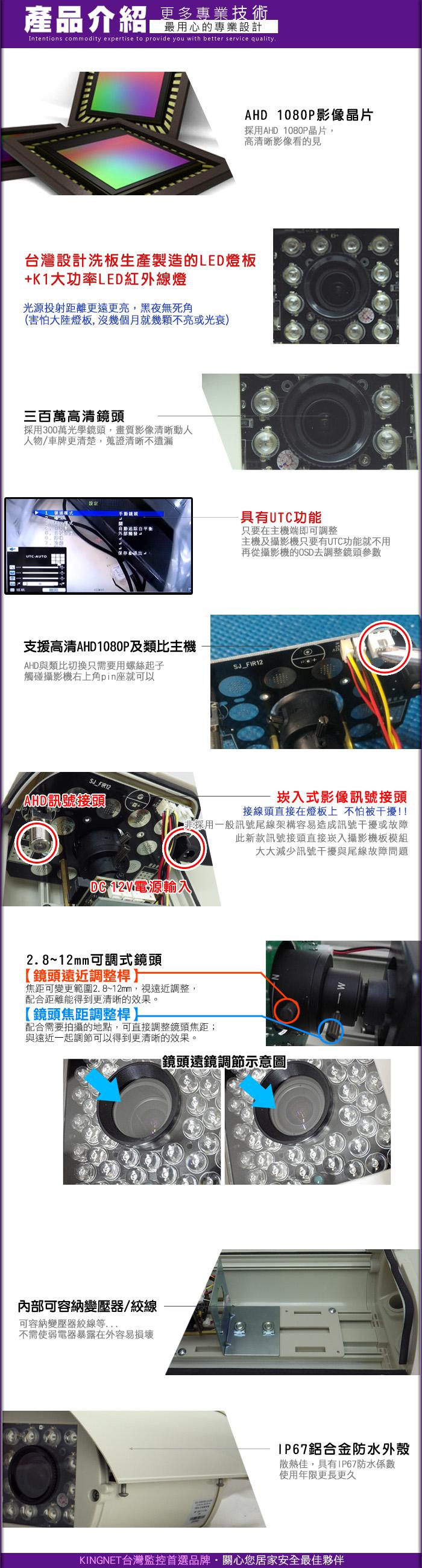 監視器攝影機 KINGNET 4路 監視器主機 4路DVR+2支1080P12顆K1紅外線燈防護罩攝影機 2.8~12mm